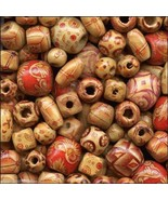 200 Bamboo Craft Art Beads Mixed Shapes Size Pattern Lightweight Strong ... - $7.15