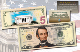 LINCOLN MEMORIAL DAY VERSION Genuine Legal Tender COLORIZED 2-Sided $5 U... - $19.95