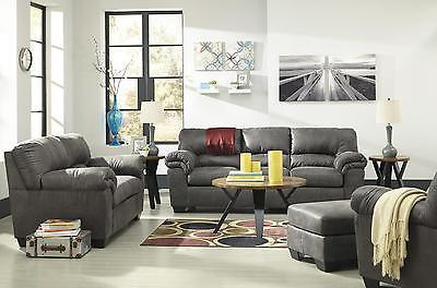 Ashley Bladen Living Room Set 4pcs Faux Leather Slate Contemporary Style