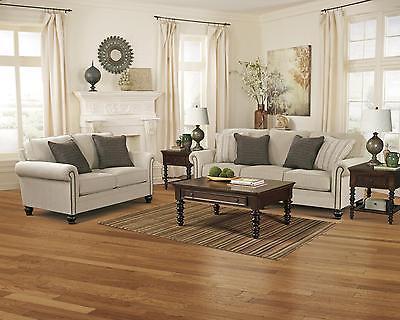 Ashley Milari Living Room Set 2pcs Polyester Upholstery Linen Casual Style