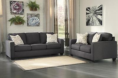Ashley Alenya Fabric Living Room Set 2pcs Charcoal Signature Design Casual Style