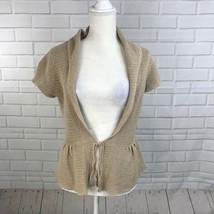 Tommy Hilfiger Womens Cardigan Sweater Drawstring Belt Tan Knit Short Sleeve S - $12.79