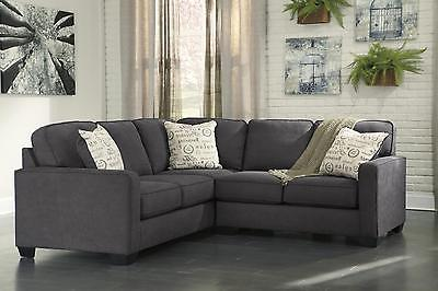 Ashley Alenya Living Room Fabric Sectional in Charcoal Right Facing Casual Style