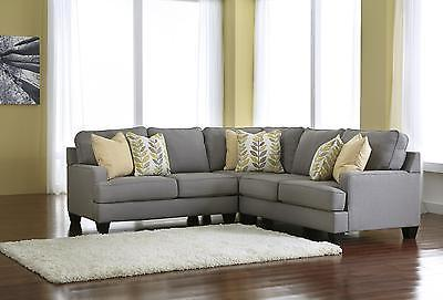 Ashley Chamberly Living Room Sectional Sofa 3pcs in Alloy Contemporary Style