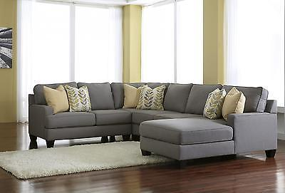 Ashley Chamberly Living Room Sectional 4pcs in Alloy Contemporary Right Facing