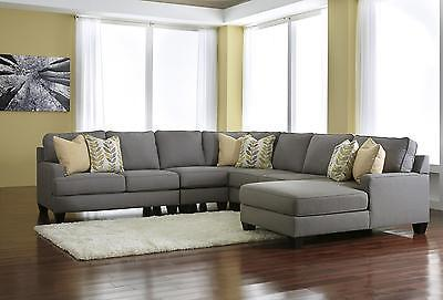 Ashley Chamberly Living Room Sectional 5pcs in Alloy Contemporary Right Facing