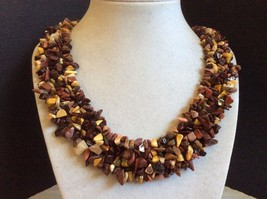 natural stone Agate Jasper nugget beaded cluster collar necklace - $44.55