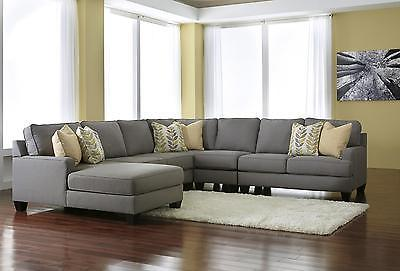 Ashley Chamberly Living Room Sectional 5pcs in Alloy Contemporary Left Facing