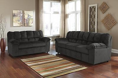 Ashley Julson Living Room Set 2pcs in Ebony Upholstery Fabric Contemporary Style