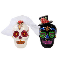 Day of Dead Wedding White Black Skulls Salt & Pepper Shakers Set Rhinest... - $14.84