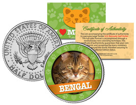 BENGAL Cat JFK Kennedy Half Dollar US Colorized Coin - $8.95