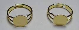 10 GOLD PLATED Adjustable RING BLANKS 10mm pad ~ Glue on Beads Buttons Cabs - $4.42
