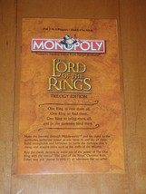 Lord Of The Rings Trilogy Collectors Edition Monopoly Game Instructions ... - $9.49