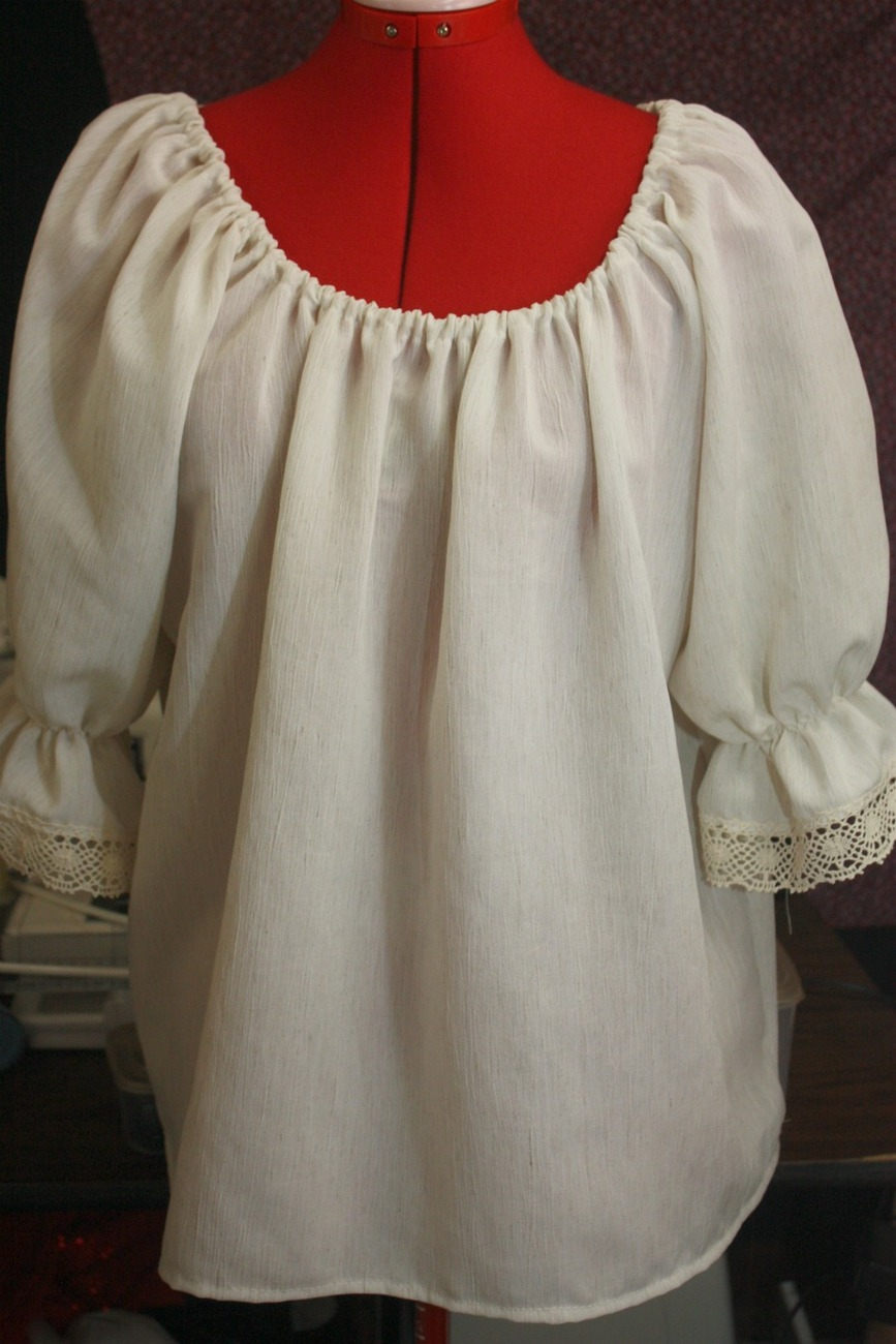 PIRATE PEASANT BLOUSE  SILK & COTTON BLEND ANY SIZE 3/4 LACE SLEEVES CUSTOM MADE