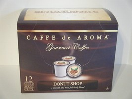 Caffe de Aroma Bold Roasted Donut Shop Coffee 12 Single Serve K-Cups Fre... - $9.99