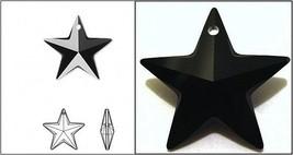 Authentic SWAROVSKI 6714 CRYSTAL Jet BLACK STAR PENDANTS 20mm Top-Drille... - $3.46