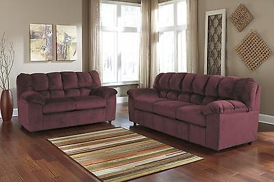 Ashley Julson Living Room Set 2pcs in Burgundy Upholstery Fabric Contemporary