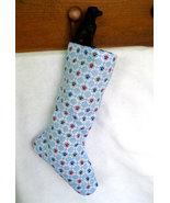 Blue Paw Print Christmas Stockings - Handmade Dog Stocking, Lined Xmas S... - $14.99