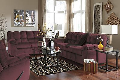 Ashley Julson Living Room Set 3pcs in Burgundy Upholstery Fabric Contemporary