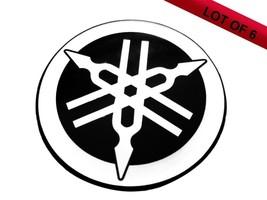 Lot Of 6 Pcs Yamaha 45 Mm Tuning Fork Logo Black Silver Decal Emblem Sticker - $16.94