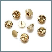 50 Gold Brass Tac TIE TACKS Lapel Scatter Pin 10mm pad~9mm post +Backs N... - $9.89