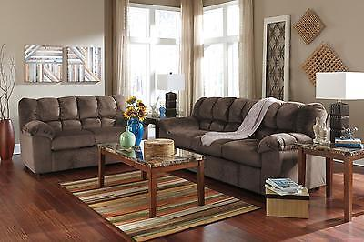 Ashley Julson Living Room Set 2pcs in Cafe Upholstery Fabric Contemporary Style