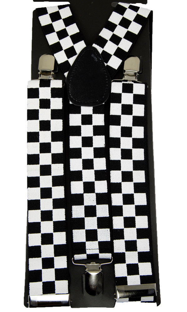 "Unisex Clip-on Braces Elastic Wide ""White/Black Checker"" Suspender"