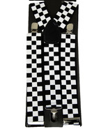 "Unisex Clip-on Braces Elastic Wide ""White/Black Checker"" Suspender - $3.95"