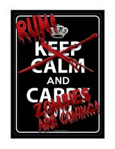 RUN!  ZOMBIES ARE COMING!  Tin Sign 8 1/4 x 11 5/8  (KSM315) - $10.39