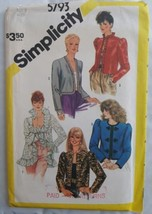 Vintage 1980s Simplicity 5793 Puff Sleeve Jacket Pattern  sz 8 Unct - $12.50