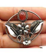 925 Sterling Silver - Vintage Carnelian Love Heart Flowers Brooch Pin - ... - $83.42