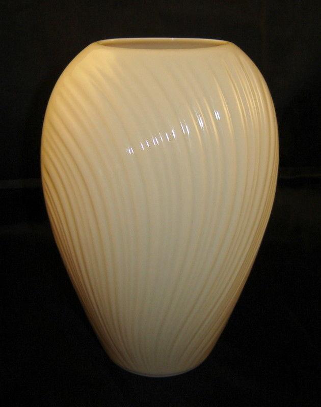 "Elegant LENOX Oval Ivory Porcelain 6"" Mirage Vase, Art Deco Textured Lines"