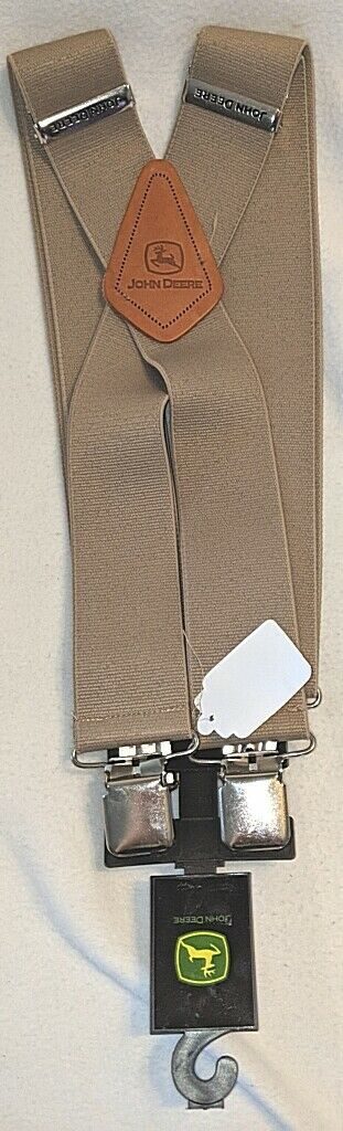 John Deere LP25946 Large Clip On Elastic Taupe Green Suspenders
