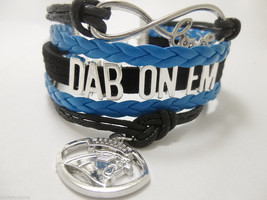 CAROLINA PANTHERS INFINITY BRACELET 5 LAYER CORD DAB ON EM CAM NEWTON BL... - $14.69