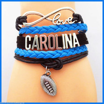CAROLINA PANTHERS INFINITY BRACELET 5 LAYER WRAP CORD FOOTBALL FANS NFL ... - $6.85