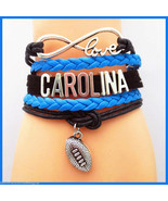CAROLINA PANTHERS INFINITY BRACELET 5 LAYER WRAP CORD FOOTBALL FANS NFL ... - $6.85