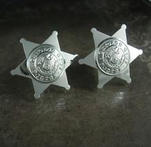 Vintage Sheriffs cufflinks Chicago novelty Badge Star City retirement gift polic - $145.00
