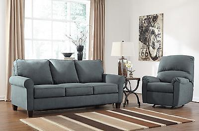 Ashley Zeth Fabric Queen Size Sleeper Sofa Set 2pcs in Denim Contemporary Style