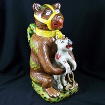 Vtg Staffordshire Pearlware Bear Baiting Advertising Grease Jug Pitche R... - $149.97