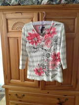 Womens Print Top Size Medium by Karen Scott 100% Cotton - $29.99