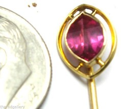 Vintage Estate 10K Gold Stick Pin w/ Bold & Bright Simulated Ruby, 1.9g - $70.11