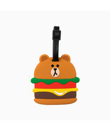 LINE FRIENDS Character Silicon Luggage Name Tag BURGER BROWN Official Goods - $24.74
