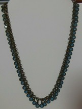 Vintage The Limited Brass-tone Blue Glass Bead Charm Necklace - $34.65