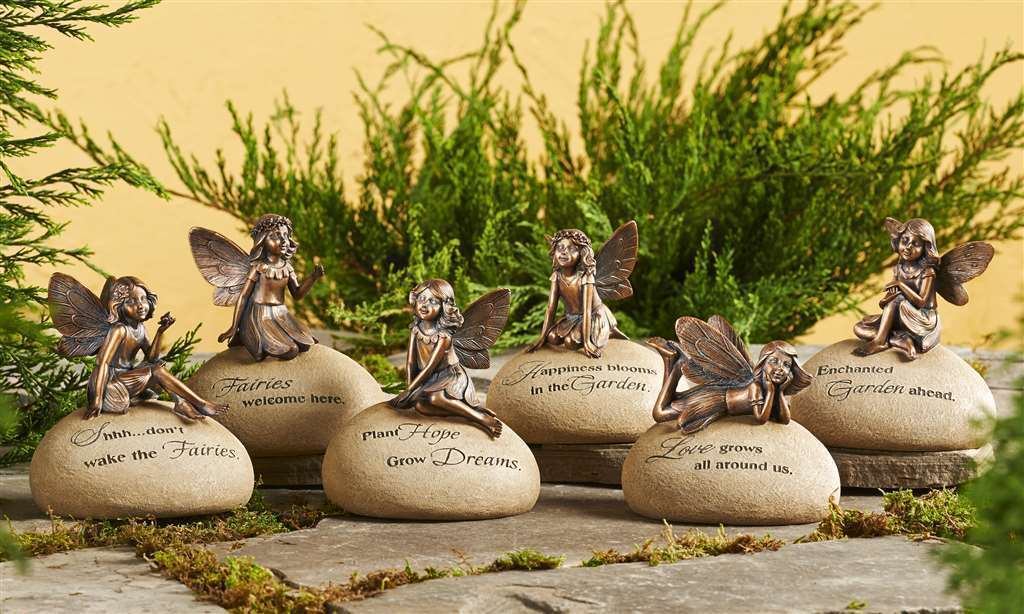 Set of 6 - Fairy Garden Messge Rocks Brushed Copper Color 6 Styles