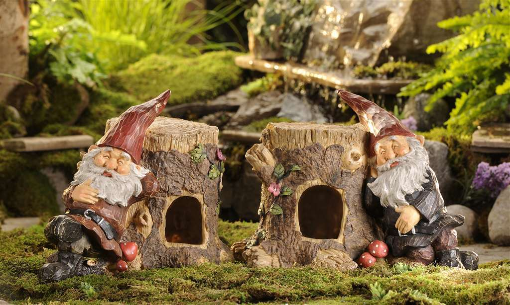Set of 2 Toad Abodes  with Gnomes Sleeping  - Polystone