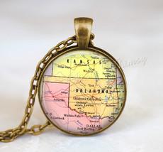 OKLAHOMA MAP Necklace, Oklahoma Map Pendant, Oklahoma Keychain, Oklahoma... - $12.95