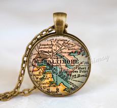 MARYLAND MAP Necklace, Maryland Map Pendant, Baltimore Maryland Map, Mar... - $9.95