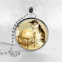 VINTAGE GLOBE Necklace, Vintage Globe Pendant, Vintage World Map, Cat Ne... - $9.95