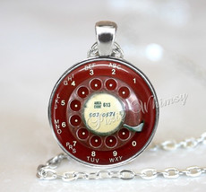 TELEPHONE Necklace,  Telephone Pendant, Telephone Keychain, Telephone Jewelry, R - $12.95