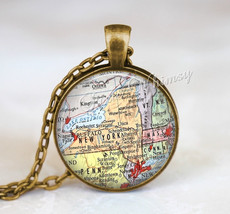 NEW YORK MAP Necklace, New York Map Pendant, New York Keychain, New York Necklac - $12.95